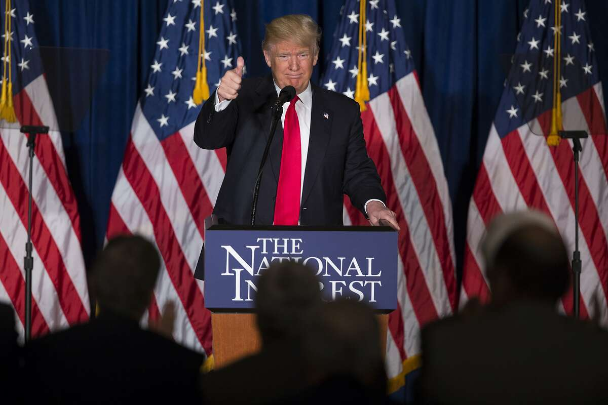 Republican presidential candidate Donald Trump gives a thumbs up after a foreign policy speech at the Mayflower Hotel in Washington, Wednesday, April 27, 2016. Trump's highly anticipated foreign policy speech Wednesday will test whether the Republican presidential front-runner, known for his raucous rallies and eyebrow-raising statements, can present a more presidential persona as he works to unite the GOP establishment behind him. (AP Photo/Evan Vucci)