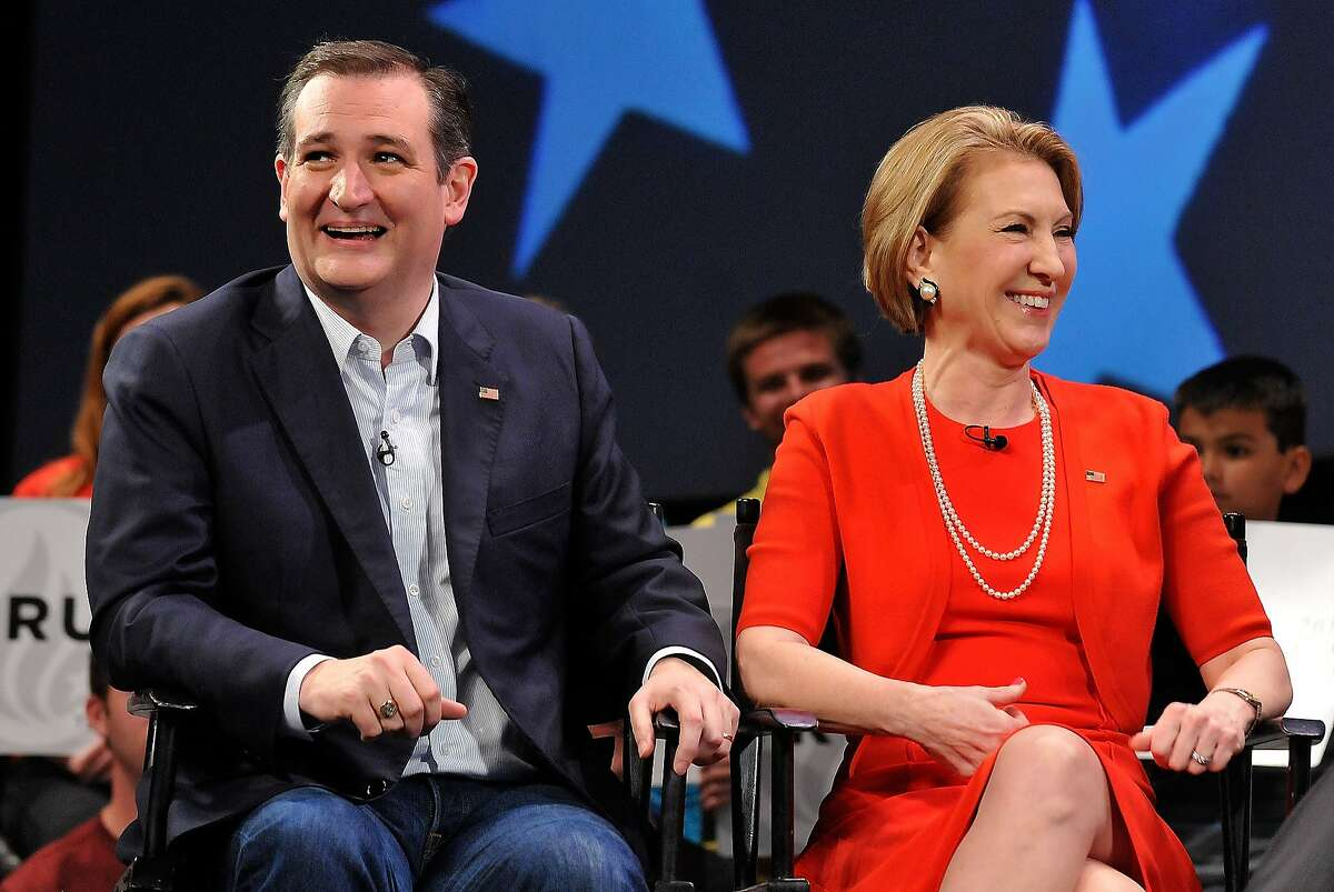 Republican presidential candidate Sen. Ted Cruz (R-TX) and former candidate Carly Fiorina (L) in a discussion with political commentator Sean Hannity during a campaign rally at Faith Assembly of God Church on March 11, 2016 in Orlando, Florida. The candidates continue to campaign before the March 15th Florida primary.