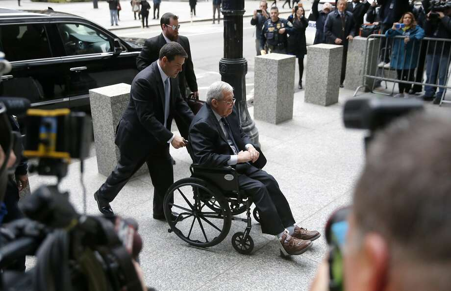 Dennis Hastert arrives at the federal courthouse in Chicago for sentencing on violating federal banking laws. Photo: Charles Rex Arbogast, Associated Press