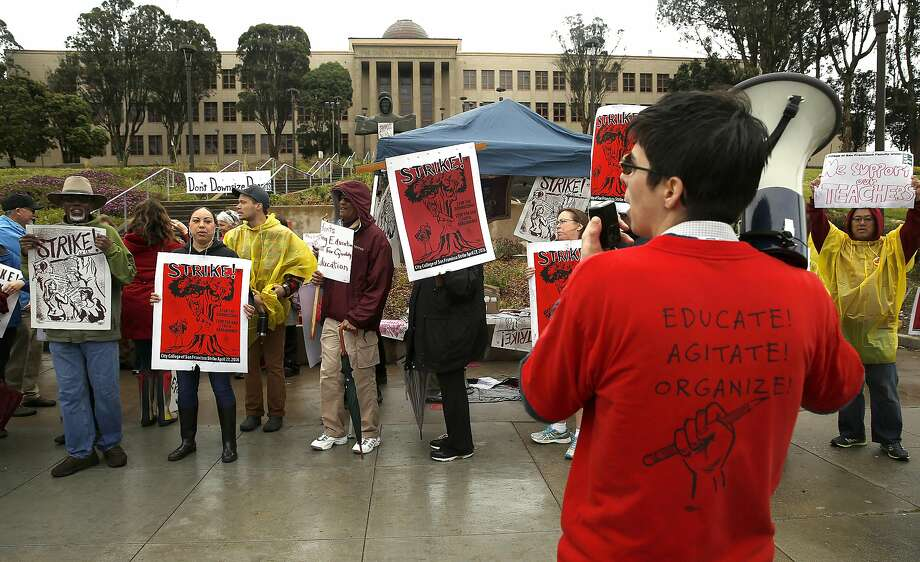 Blanca Misse (right) rallies City College workers and their supporters at the main campus during the strike. Photo: Liz Hafalia, The Chronicle
