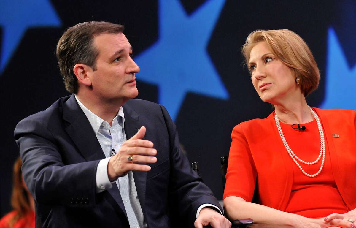 Republican presidential candidate Sen. Ted Cruz (R-TX) has named former candidate Carly Fiorina (L) as his vice presidential pick for 2016. Here, the two engage in a discussion with political commentator Sean Hannity during a campaign rally at Faith Assembly of God Church on March 11, 2016 in Orlando, Florida. (Photo by Gerardo Mora/Getty Images)