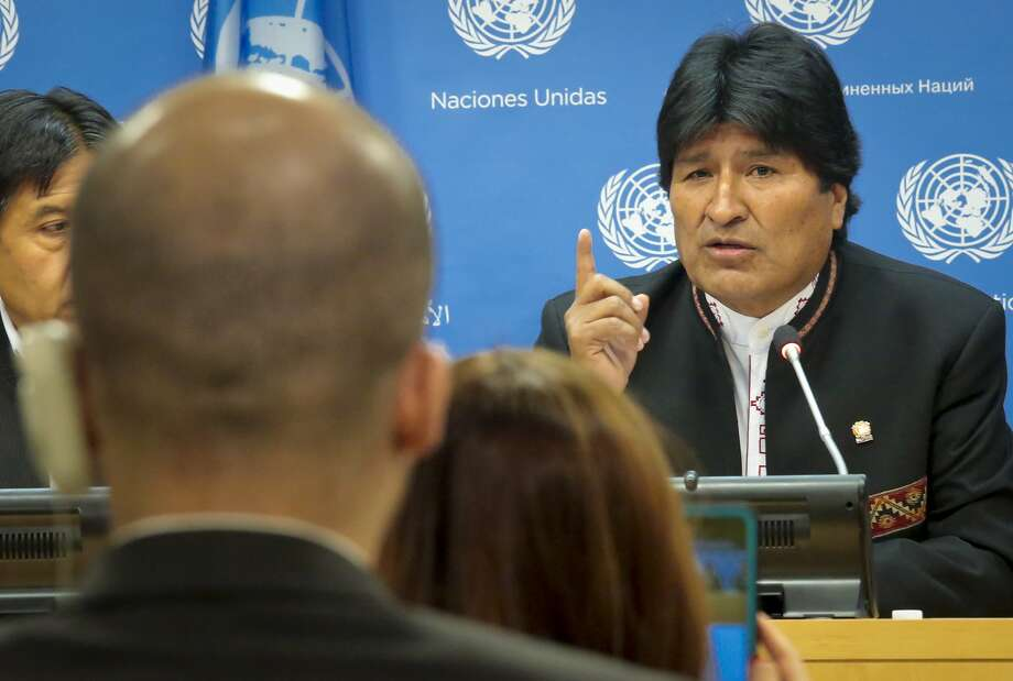 Bolivian President Evo Morales speaks to the media after addressing a U.N. special session on drugs. Photo: Bebeto Matthews, Associated Press