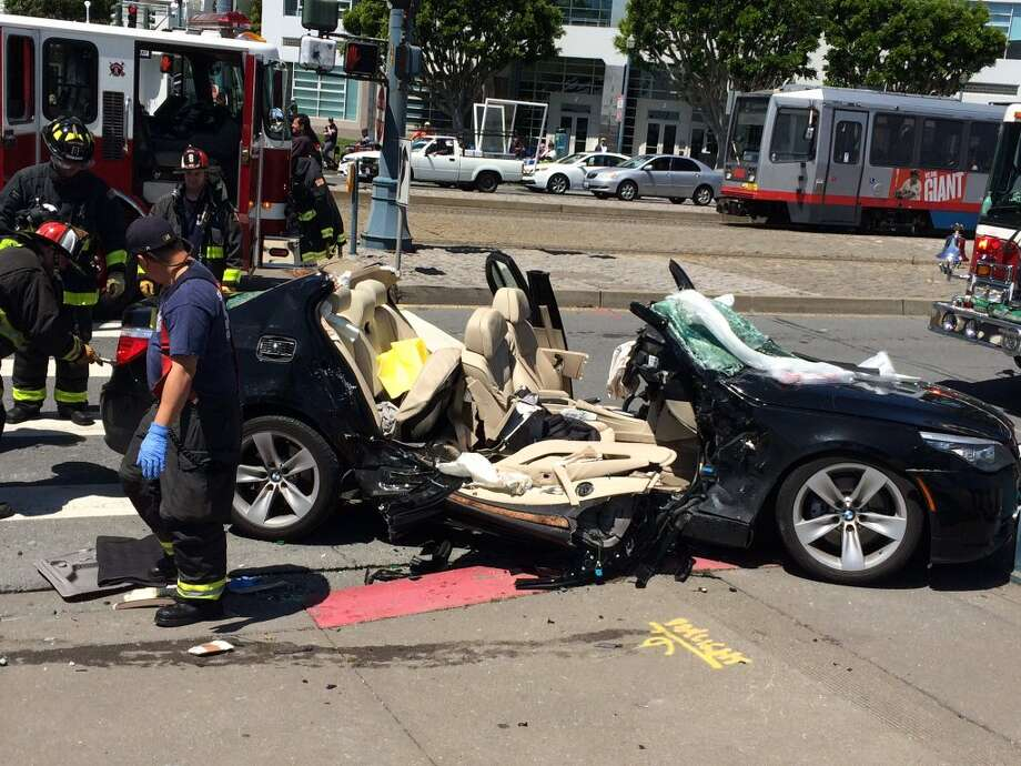 Two people were critically injured in a two-car crash Wednesday afternoon along San Francisco's Embarcadero. Photo: Jonathan Baxter, SFFD / /
