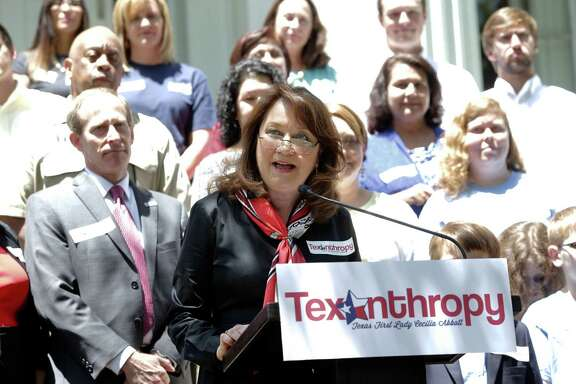 Texas first lady Cecilia Abbott announces her Texanthropy initiative last week. She continued to volunteer even after she and her husband moved into the Governor's Mansion and the commitments on her appointment calendar grew.