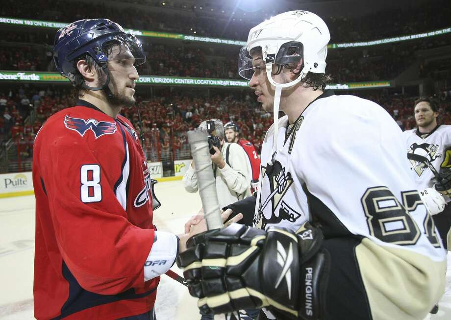 Alex Ovechkin (8) and Sidney Crosby met only once before in the playoffs, a seven-game thriller in 2009. Photo: Bruce Bennett, Associated Press