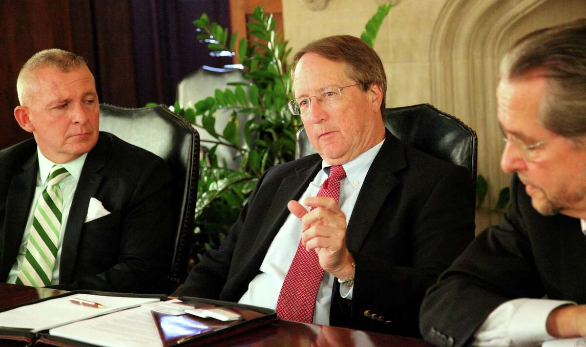 Joe Black (from left) and Sid Convington are key officials at the Lone Star Rail District, which has for years been planning a passenger rail train linking San Antonio and Georgetown.