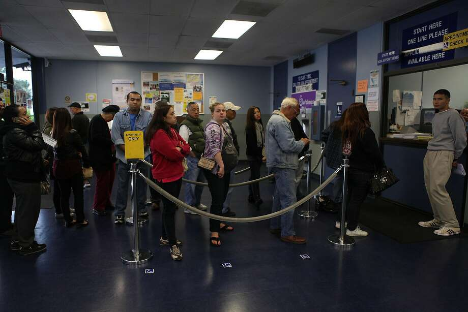 Lines at DMV offices would just be a bad memory if California adopted a one-stop shop for government services. Photo: Liz Hafalia, The Chronicle