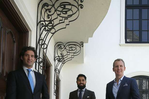 """Realtors Justin Fichelson (left), Roh Habibi (middle), and  Andrew Greenwell (right), talk about starring on """"Million Dollar Listing SF"""", a reality show series starting next month in San Francisco, California, on Thursday, June 4, 2015."""