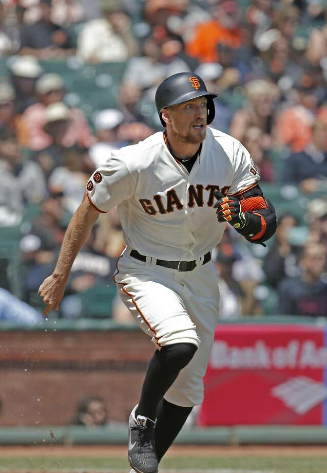 Giants' Hunter Pence hits an RBI triple in the 1st inning, as the San Francisco Giants take on the San Diego Padres at AT&T Park in San Francisco, California on Wed. April 27, 2016. Photo: Michael Macor, The Chronicle