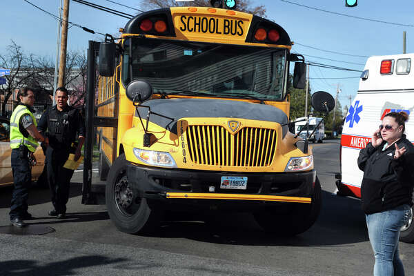 A bus carrying school children was involved in an accident with a car at the intersection of North and Madison Avenues, in Bridgeport, Conn. April 27, 2016. The driver of the car fled the scene, but there were no reported injuries in the accident.