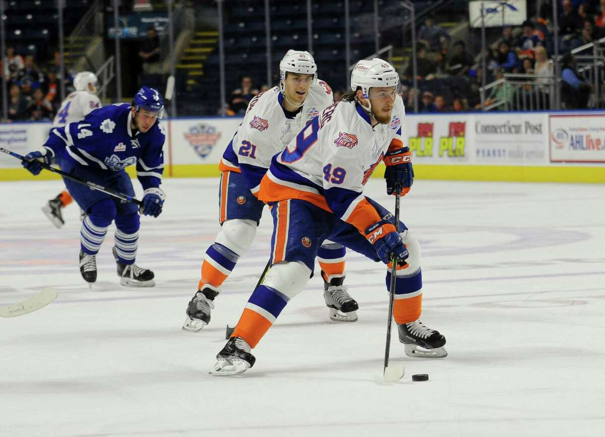 Sebastian Collberg (49) of the Bridgeport Sound Tigers looks to shoot during Game 1 of the 2016 Calder Cup Playoffs against the Toronto Marlies at Webster Bank Arena on April 23, 2016 in Bridgeport, Connecticut.