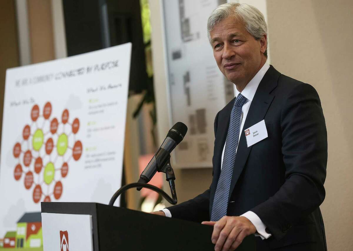 Jamie Dimon, chairman, president and chief executive officer of JPMorgan Chase addresses attendees of an announcement of a partnership to tackle the middle-skills jobs gap and move 1,000 underemployed individuals from low-wage jobs to living-wage, middle-skills jobs on Wednesday, April 27, 2016, in Houston. ( Elizabeth Conley / Houston Chronicle )