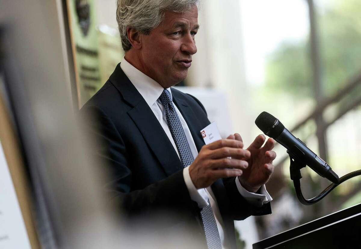 Jamie Dimon, chairman and CEO of JPMorgan Chase, addresses attendees of an announcement of a partnership to tackle the middle-skills jobs gap and move 1,000 underemployed individuals from low-wage jobs to living-wage, middle-skills jobs on Wednesday, April 27, 2016, in Houston. ( Elizabeth Conley / Houston Chronicle )