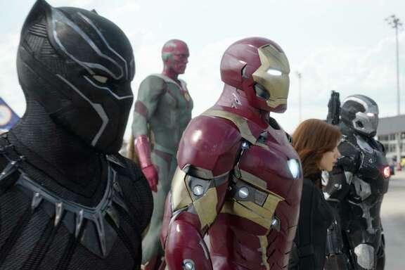 "Among the superheroes in ""Captain America: Civil War"" are (from left) Black Panther/T'Challa (Chadwick Boseman), Vision (Paul Bettany), Iron Man/Tony Stark (Robert Downey Jr.), Black Widow/Natasha Romanoff (Scarlett Johansson) and War Machine/James Rhodey (Don Cheadle)."