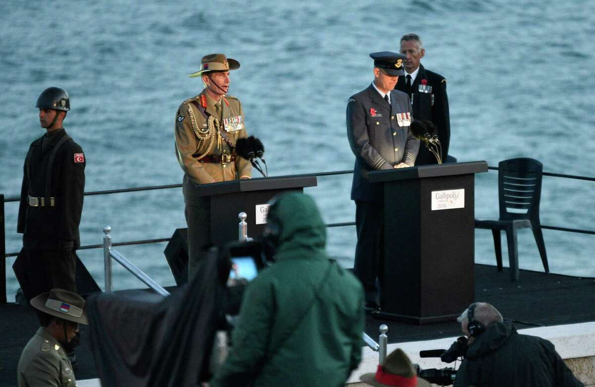 Members of various military services speak at a dawn service for Anzac Day in Gallipoli on April 25, 2016, to mark the 101st anniversary of the ill-fated Gallipoli campaign in World War I. Turkey and former World War I Commonwealth foes of the Ottoman Empire joined together to honour the tens of thousands killed at the Battle of Gallipoli 101 years ago in one of the most futile yet emblematic campaigns of the conflict. (AFP/Getty Images)