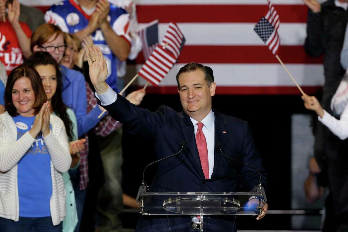 Republican presidential candidate Sen. Ted Cruz, R-Texas, speaks Wednesday during a rally in Indianapolis. (AP Photo/Michael Conroy)