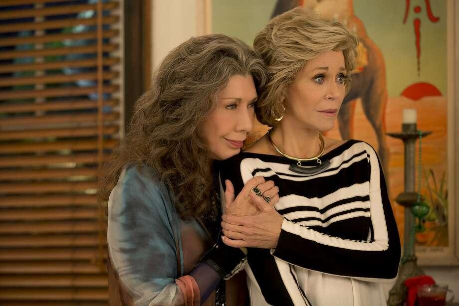 "Lily Tomlin (left) and Jane Fonda star in ""Grace and Frankie"" on Netflix. Photo: Karen Ballard/Netflix"