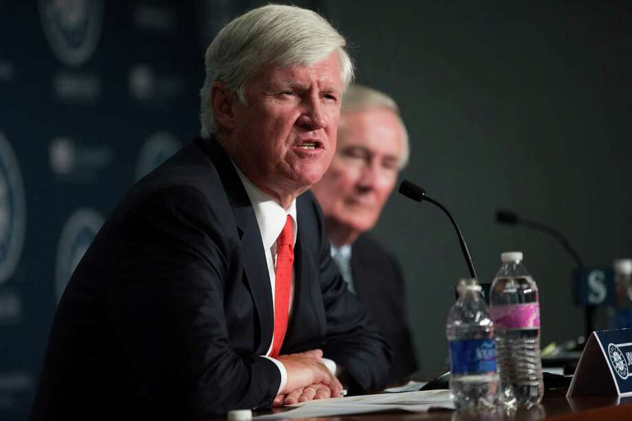 Future Mariners chairman John Stanton speaks during a  press conference with current chairman and CEO Howard Lincoln on a change of ownership at Safeco Field on Wednesday, April 27, 2016. Photo: GRANT HINDSLEY, SEATTLEPI.COM / SEATTLEPI.COM
