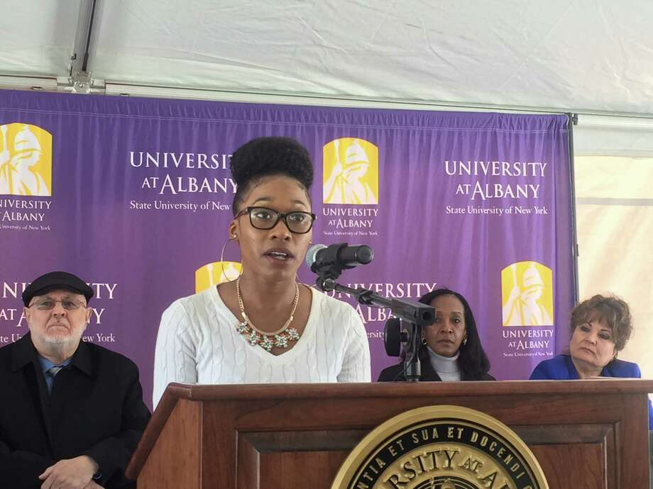Raven Profit speaks about her work as community outreach liaison for the Albany Health Task Force at UAlbany. (Claire Hughes/Times Union)