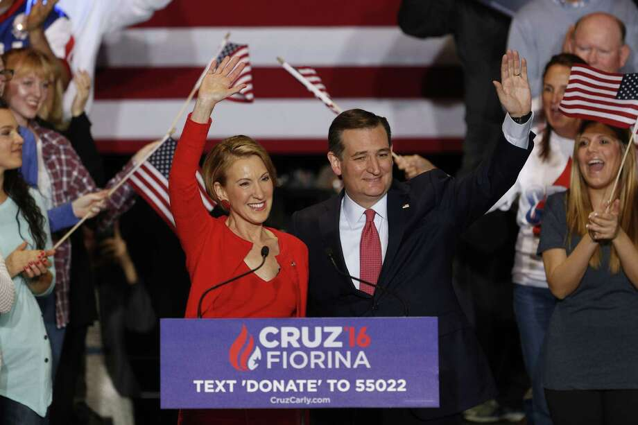 Carly Fiorina, former chairman and chief executive officer of Hewlett-Packard Co., left, and Senator Ted Cruz, a Republican from Texas and 2016 presidential candidate, wave to attendees during a campaign rally in Indianapolis, Indiana, U.S., on Wednesday, April 27, 2016. Cruz picked Fiorina to be his vice presidential candidate if he secures the Republican nomination, according to two people familiar with the decision. Photographer: Luke Sharrett/Bloomberg *** Local Caption *** Carly Fiorina; Ted Cruz Photo: Luke Sharrett, Stringer / Bloomberg / © 2016 Bloomberg Finance LP