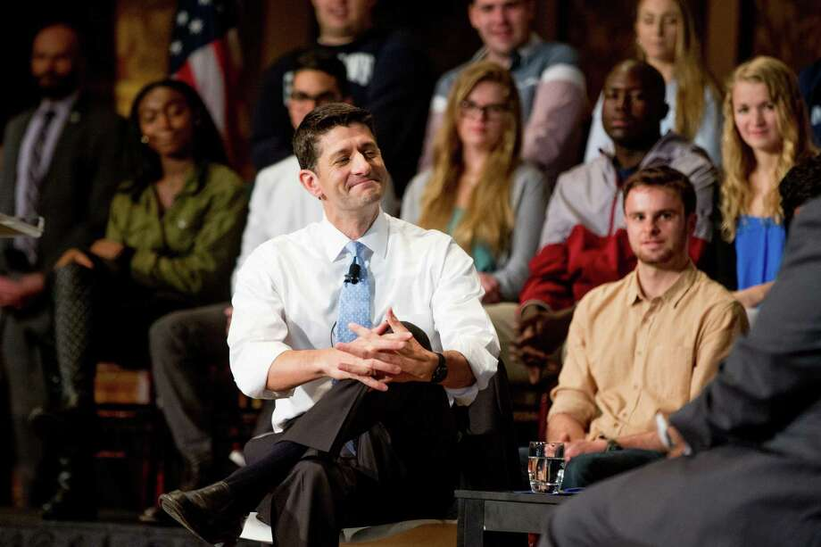 House Speaker Paul Ryan of Wis. smiles during a town hall at Gaston Hall at Georgetown University in Washington, Wednesday, April 27, 2016. (AP Photo/Andrew Harnik) Photo: Andrew Harnik, STF / Copyright 2016 The Associated Press. All rights reserved. This material may not be published, broadcast, rewritten or redistribu