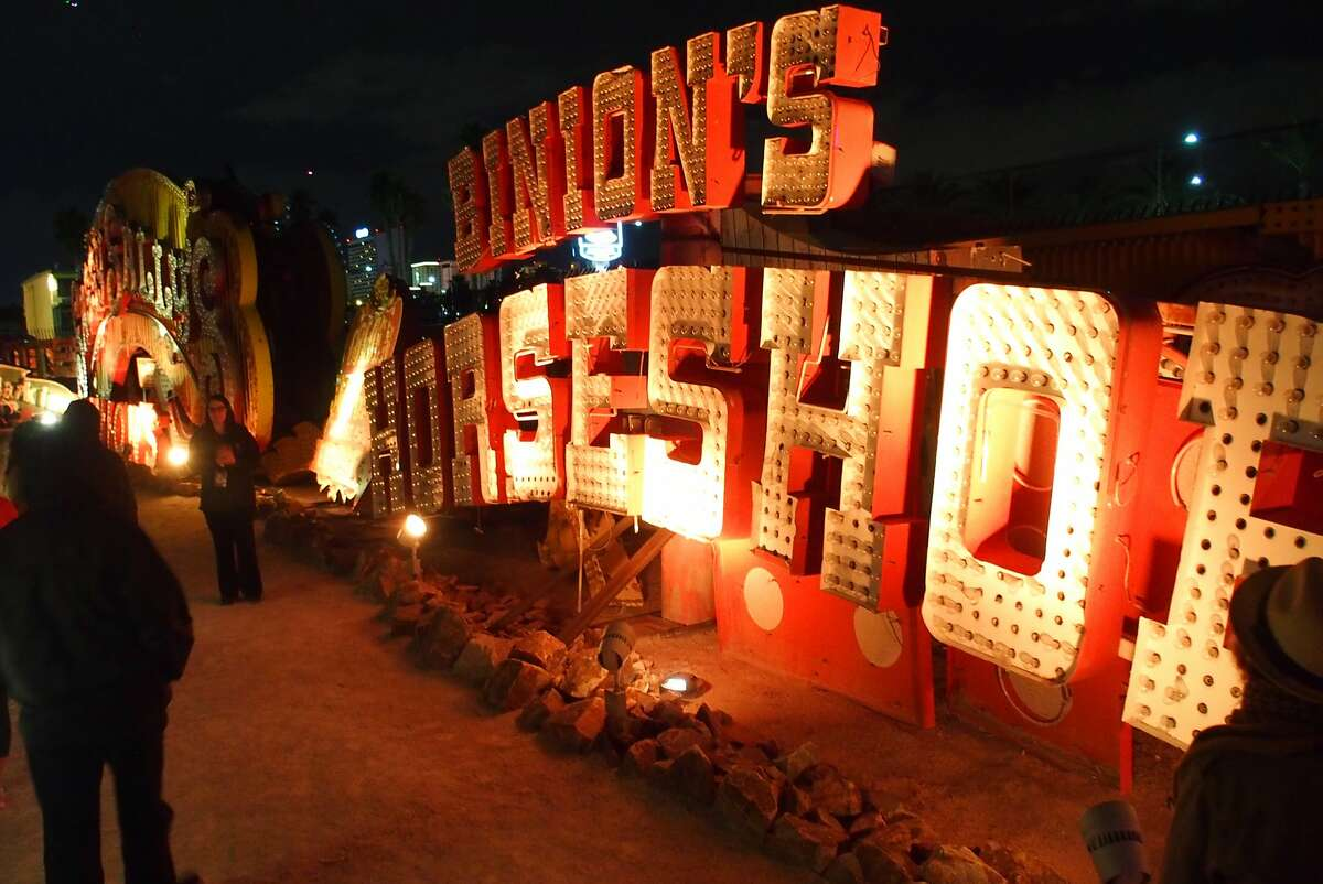 """Among the relics on the """"neon boneyard"""" tour at the Neon Museum in Las Vegaas is one era of sign for Binion's Horseshoe."""