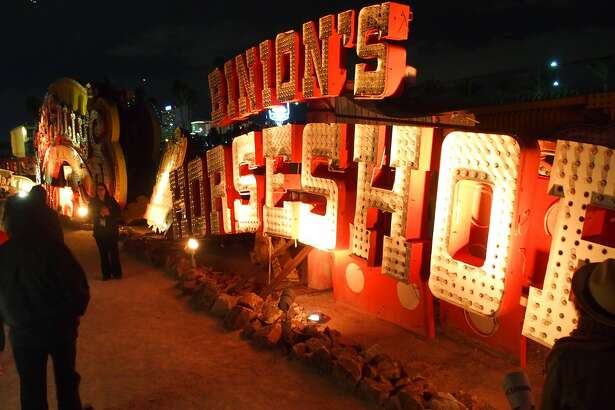 "Among the relics on the ""neon boneyard"" tour at the Neon Museum in Las Vegaas is one era of sign for Binion's Horseshoe."