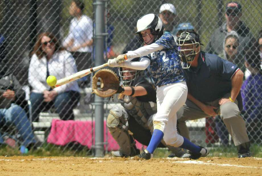 Jessie Kirker of Shaker connects with a pitch during their game against Troy on Wednesday, April 27, 2016, in Troy, N.Y.  (Paul Buckowski / Times Union) Photo: PAUL BUCKOWSKI / 10036372A