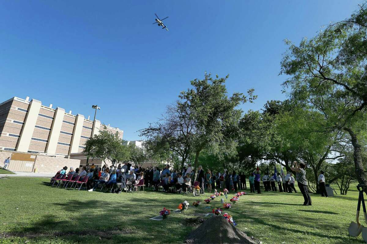 An Airlife helicopter performs a flyover during a memorial which honors individuals who donated their bodies to the University of Texas Health Science Center during the school's annual ceremony on Wednesday, Apr. 27, 2016. The event honored the human donors used in the education of students at UTHSC and took place at Memorial Park near The Robert F. McDermott Clinical Science building at Greehey Academic & Research Campus. Student representatives from the Health Science Center's schools gave brief speeches about the anatomy lessons and life lessons they have learned from their first patients, the deceased human donors who altruistically gave their bodies to science. The flyover commenced the ceremony, songs by UTSA graduate vocal students, and the Fort Sam Houston Memorial Detachment Services unit performed the presentation of the flag in memory of body donors who served in the military. About 200 medical students along with donors' families attended the event.