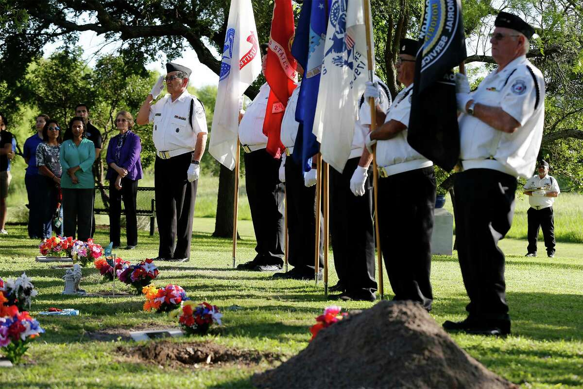 Members of the Fort Sam Houston Memorial Services Detachment salute and pay homage during a memorial honoring individuals who donated their bodies to the University of Texas Health Science Center during the school's annual ceremony on Wednesday, Apr. 27, 2016. The event honored the human donors used in the education of students at UTHSC and took place at Memorial Park near The Robert F. McDermott Clinical Science building at Greehey Academic & Research Campus. Student representatives from the Health Science Center's schools gave brief speeches about the anatomy lessons and life lessons they have learned from their first patients, the deceased human donors who altruistically gave their bodies to science. An AirLife helicopter flyover commenced the ceremony, songs by UTSA graduate vocal students, and the Fort Sam Houston Memorial Detachment Services unit performed the presentation of the flag in memory of body donors who served in the military. About 200 medical students along with donors' families attended the event.