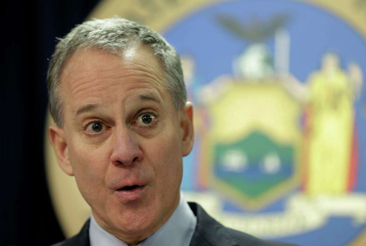 New York Attorney General Eric Schneiderman speaks at a new conference on fantasy sports websites Monday, March 21, 2016, in New York. Schneiderman says he will introduce legislation as part of his bid to crack down on the use of ?bot? software that allows event ticket buyers to gobble up numerous seats for resale faster than individual people can.(AP Photo/Seth Wenig)