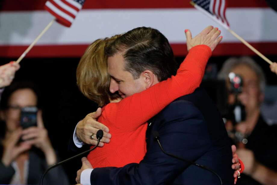 Republican presidential candidate Sen. Ted Cruz, R-Texas, hugs former Hewlett-Packard CEO Carly Fiorina during a rally in Indianapolis, Wednesday, April 27, 2016, where he announced he has tapped Fiorina as his running mate. (AP Photo/Michael Conroy) ORG XMIT: INMC117 Photo: Michael Conroy / AP