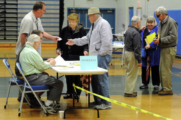 Voters turn out for Tuesday's presidential primary at Bunnell High School in Stratford.