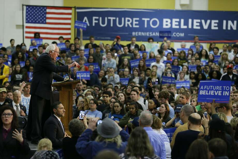 Democratic presidential candidate, Sen. Bernie Sanders, I-Vt. speaks during a rally at Purdue University in West Lafayette, Ind., Wednesday, April 27, 2016. (AP Photo/Michael Conroy) Photo: Michael Conroy, Associated Press