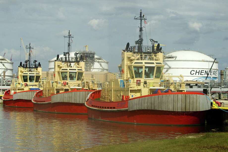 Custom tugboats that are designed to tug the specialized LNG tankers are docked at the Cheniere's Sabine Pass LNG facility on Tuesday, Oct. 28, 2014, in Cameron, Louisiana.  (J. Patric Schneider / For the Chronicle ) Photo: J. Patric Schneider, Freelance / © 2014 Houston Chronicle