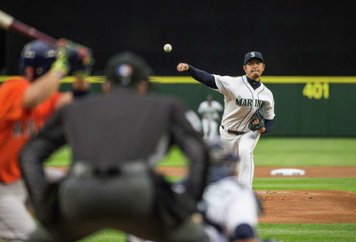 Seattle Mariners pitcher Hisashi Iwakuma gives up a leadoff home run to Houston Astros' Jose Altuve on Wednesday, April 27, 2016, at Safeco Field in Seattle.