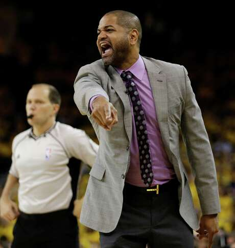 Houston Rockets coach J.B. Bickerstaff gestures during the first half in Game 2 of a first-round NBA basketball playoff series against the Golden State Warriors on Monday, April 18, 2016, in Oakland, Calif. (AP Photo/Ben Margot) Photo: Ben Margot, STF / Copyright 2016 The Associated Press. All rights reserved. This material may not be published, broadcast, rewritten or redistribu