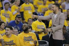Golden State Warriors Stephen Curry laughs during the third quarter in Game 5 of the NBA Playoffs at Oracle Arena on Wednesday, April 27, 2016 in Oakland, Calif.
