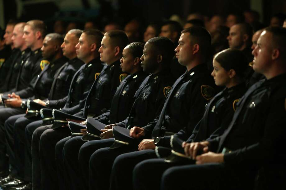 Cadets at the Houston Police Department Academy graduation ceremony for Cadet Class 225 held at the academy Wednesday, April 27, 2016, in Houston, Texas. Photo: Gary Coronado, Houston Chronicle / © 2015 Houston Chronicle