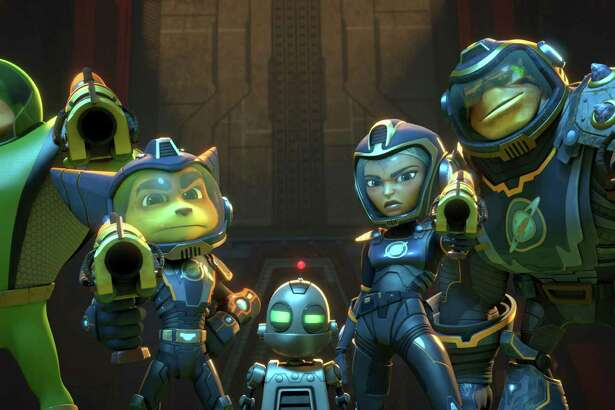 "In thisimage released by Gramercy Pictures, from left, Captain Qwark voiced by Jim Ward,  Ratchet voiced by James Arnold Taylor, Clank voiced by David Kaye, Cora voiced by Bella Thorne and Brax, voiced by Vincent Tong, appear in a scene from, ""Ratchet and Clank."" From the reviled 1993 live-action rendition of ""Super Mario Bros."" to last year's loathed arcade-inspired ""Pixels,"" big-screen interpretations of games have almost always failed to score with critics and audiences. With four films based on popular interactive series set for release in 2016, this could be the year a video game movie wins over filmgoers. (Gramercy Pictures  via AP)"