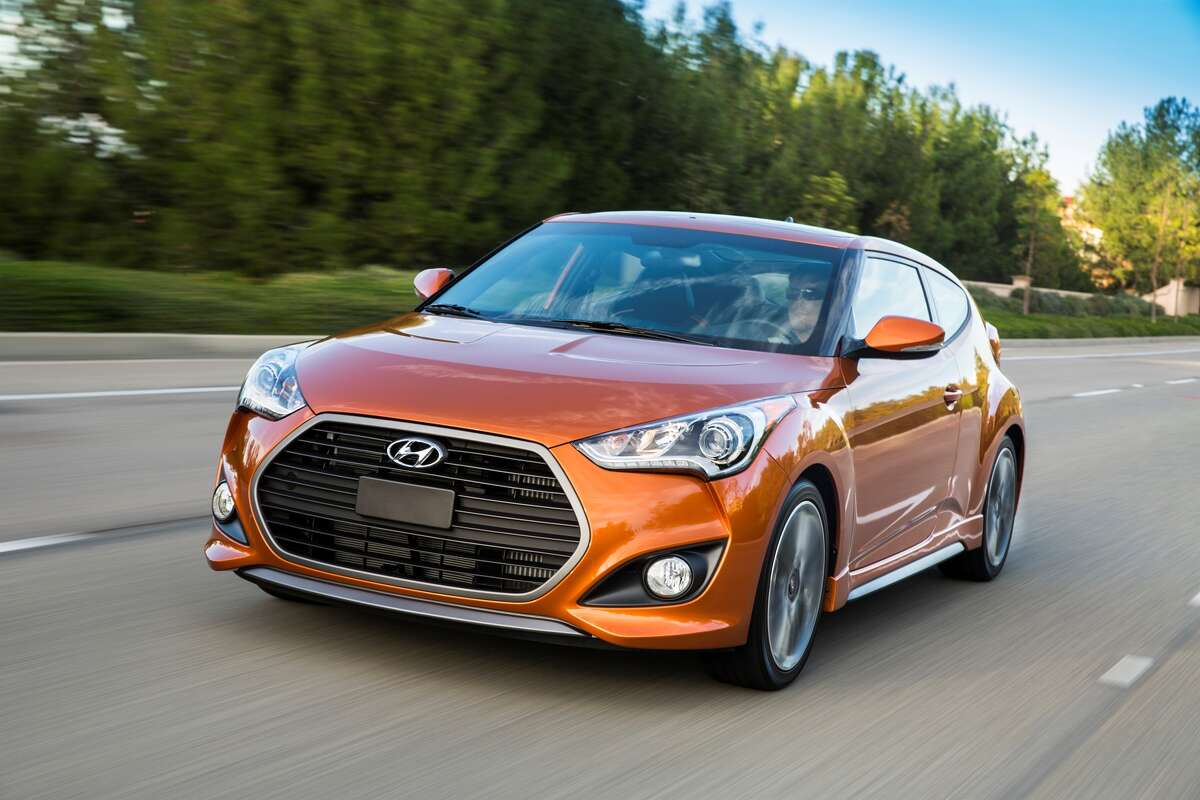 10. Hyundai Veloster Percentage of Veloster drivers with a speeding violation: 14.48% MSRP (base model): $18,500 Reported horsepower: 147-201 The Veloster is Hyundai's hot hatch entry. The high performance