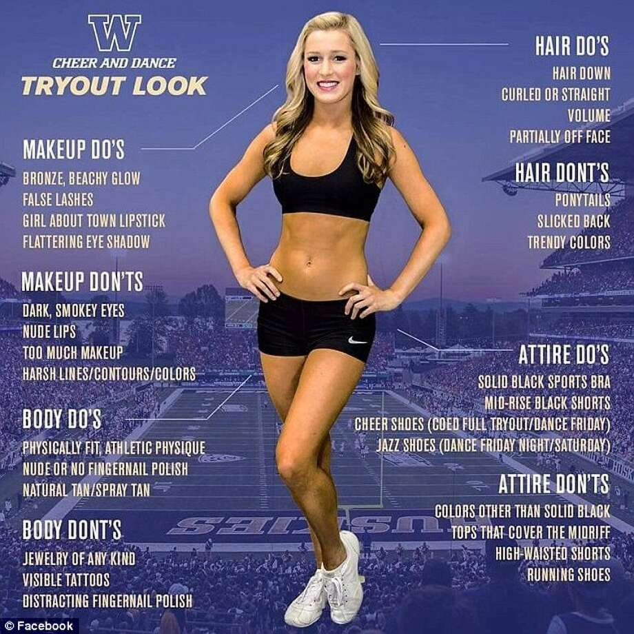 University of Washington cheerleaders are having to play defense after a checklist for tryouts received backlash across the Internet. Click the gallery to see the uniforms of cheerleaders at other universities.