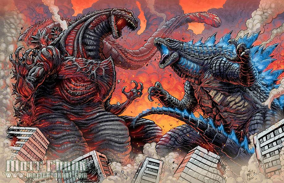 'Dueling Godzillas' by Matt Frank. (All images courtesy Matt Frank.)