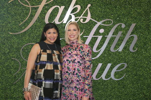 Kristy Bradshaw and Isabel David at the Saks Fifth Avenue grand re-opening VIP reception benefiting MD Anderson.