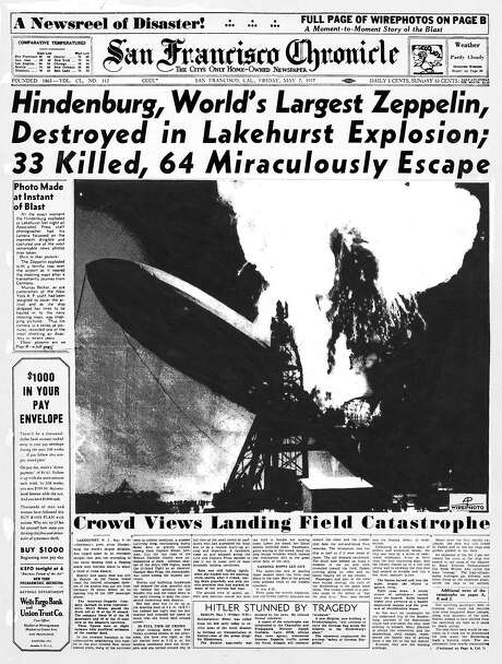The Chronicle's front page from May 7, 1937, covers the Hindenburg disaster.