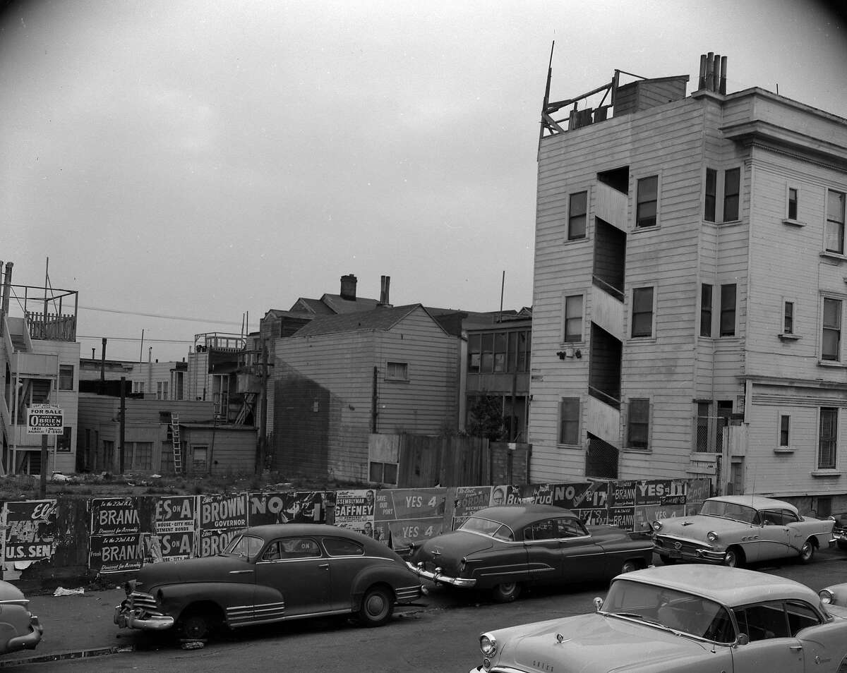 """The predominately African-American Fillmore District, San Francisco, before redevelopment. These photos were to accompany a series of article about """"Negro crime"""" by Art Hoppe. 01/20/1959 Chronicle negative, photographer unknown"""