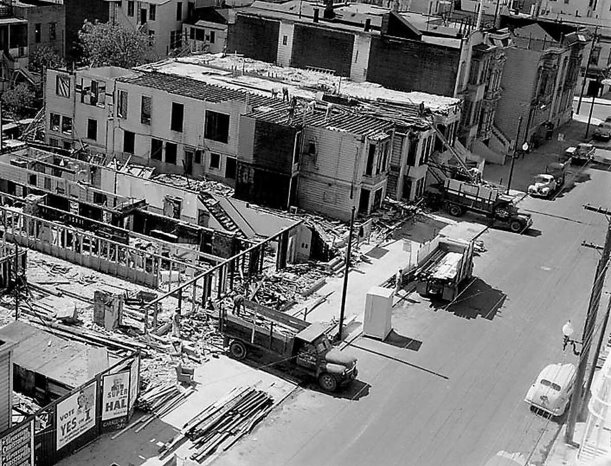 Destruction in the Fillmore by the San Francisco Redevelopment Agency during the late 1950s.