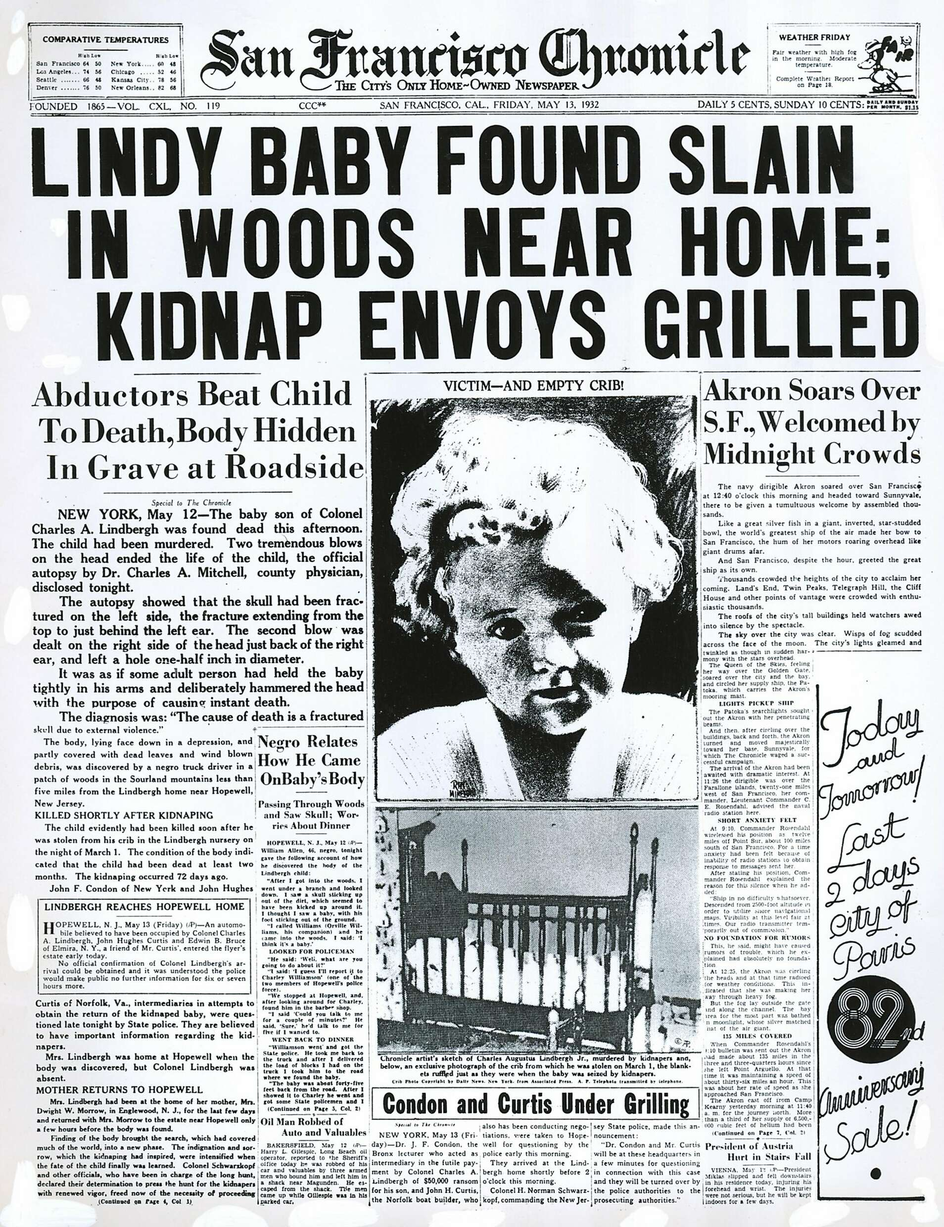 chronicle covers the discovery of the lindbergh baby s body. Black Bedroom Furniture Sets. Home Design Ideas