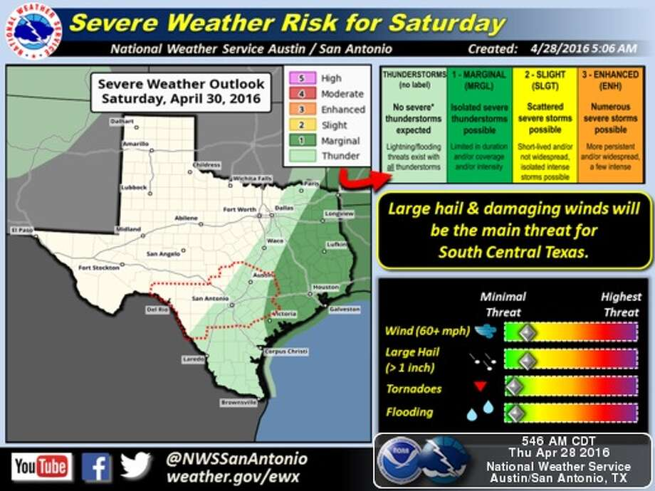 NWS forecasters are calling for more severe storms in San Antonio over the next two days. Photo: National Weather Service