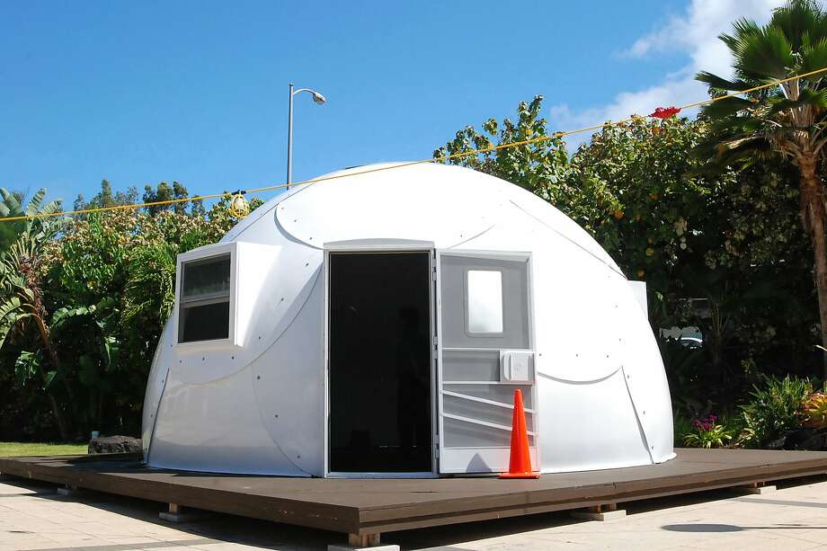 """A church on Oahu plans to erect dozens of 20-foot-wide, 314-square-foot domes like these to shelter homeless people. The initiative was inspired by the """"Dome Village"""" in Los Angeles. Photo: Caleb Jones, Associated Press"""
